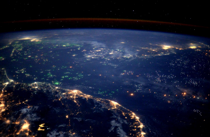 Sea of Green Fishing Boats from ISS