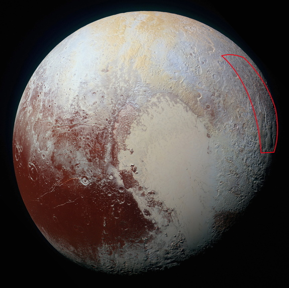 This image, captured by NASA's New Horizons spacecraft on July 14, 2015, shows the location of the spider-like feature on Pluto's surface.