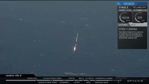 SpaceX's CRS-8 cargo mission launched to the International Space Station from Cape Canaveral, Florida, on April 8, 2016. The rocket's first stage successfully landed on a drone ship, marking the company's first successful ship landing.