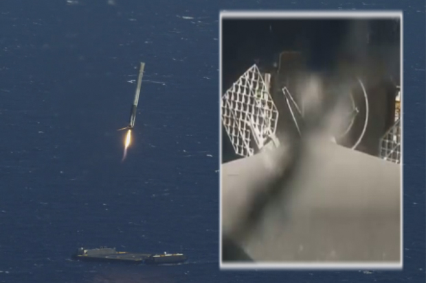 SpaceX Rocket Landing At Sea Captured By On-Board Camera, Chase Plane | Video