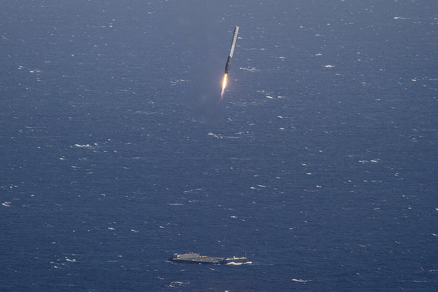 SpaceX's Falcon 9 Rocket Coming Down on Drone Ship