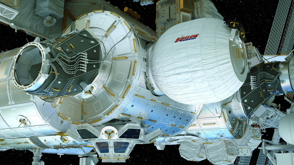 An artist's illustration of the Bigelow Expandable Activity Module (BEAM),built by Bigelow Aerospace, inflated and attached to the International Space Station.