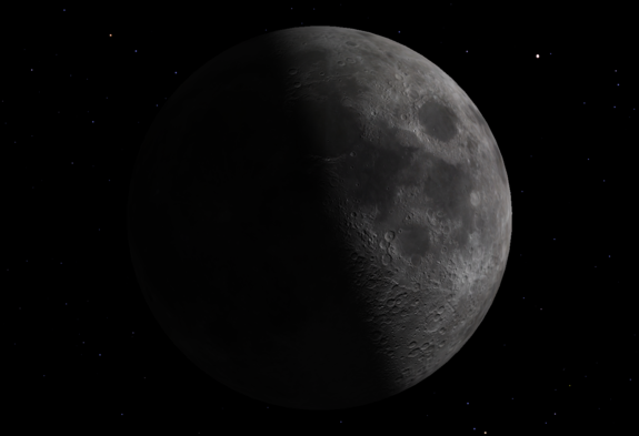 Friday, May 13, 1:02 p.m. EDT. The First Quarter Moon rises around 12:30 p.m. and sets around 2:30 a.m. It dominates the evening sky.