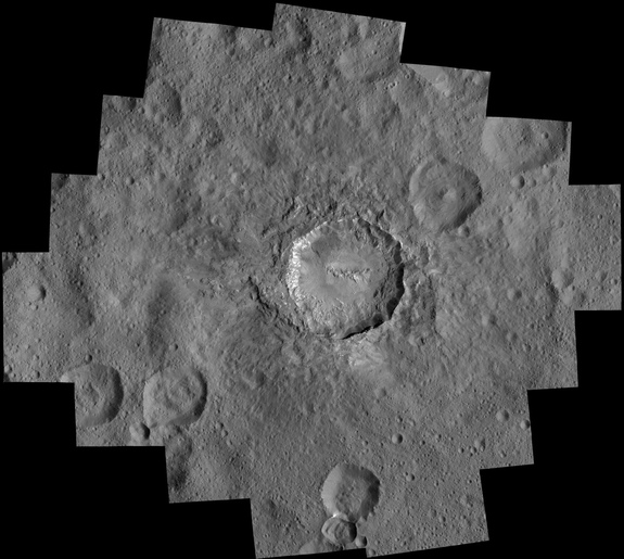 Ceres' 21-mile-wide (34 kilometers) Haulani Crater is shown in this mosaic of views captured by NASA's Dawn spacecraft from an altitude of 240 miles (385 km). Image released April 19, 2016.