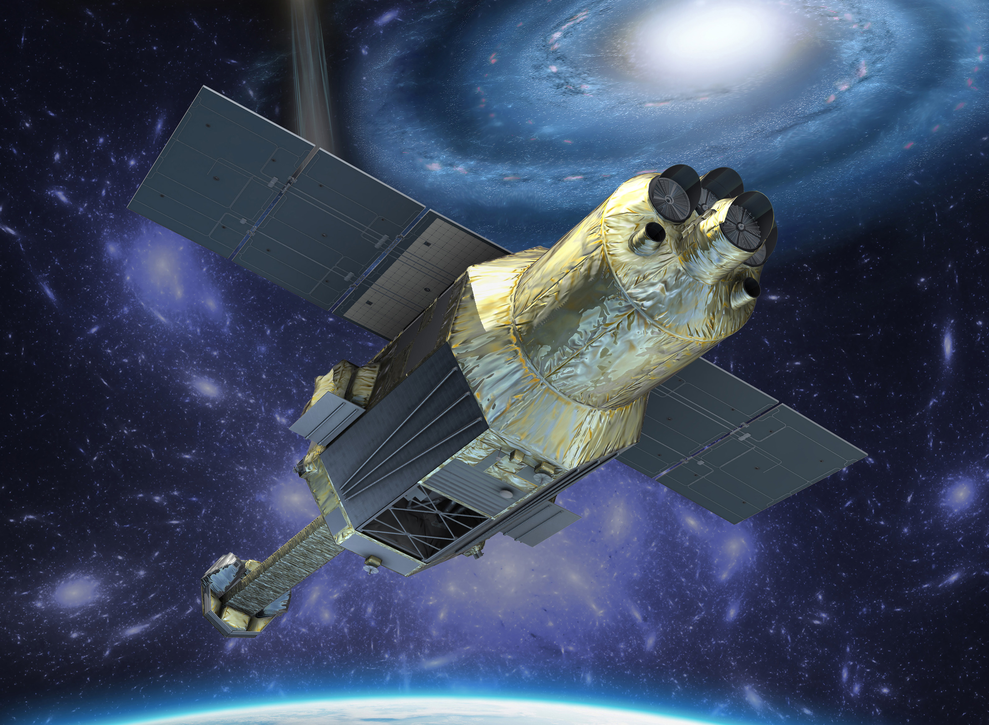 An artist's illustration of the Hitomi X-ray astronomy satellite in orbit.