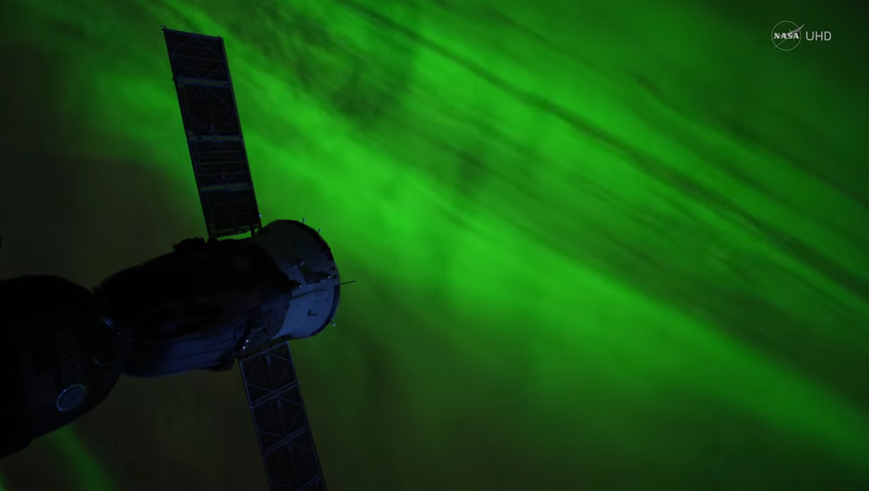 nasa uhd video still of aurora from ISS