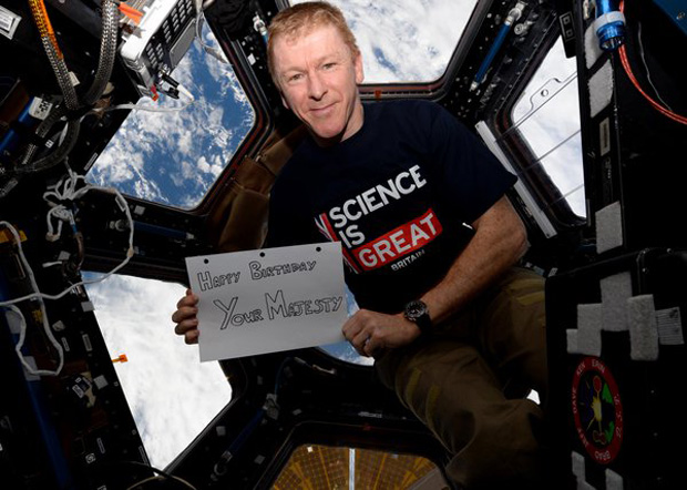 British astronaut Tim Peake celebrated the 90th birthday of Queen Elizabeth II with this zero-gravity birthday card from his orbital home on the International Space Station on April 21, 2016.