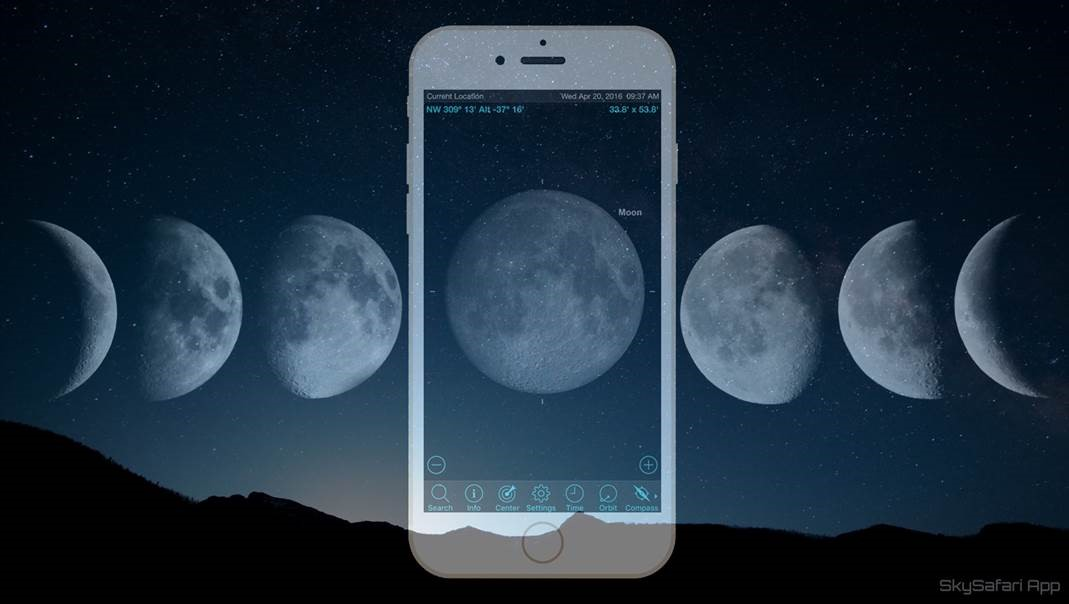 Exploring the Moon by Hand with Mobile Astronomy Apps