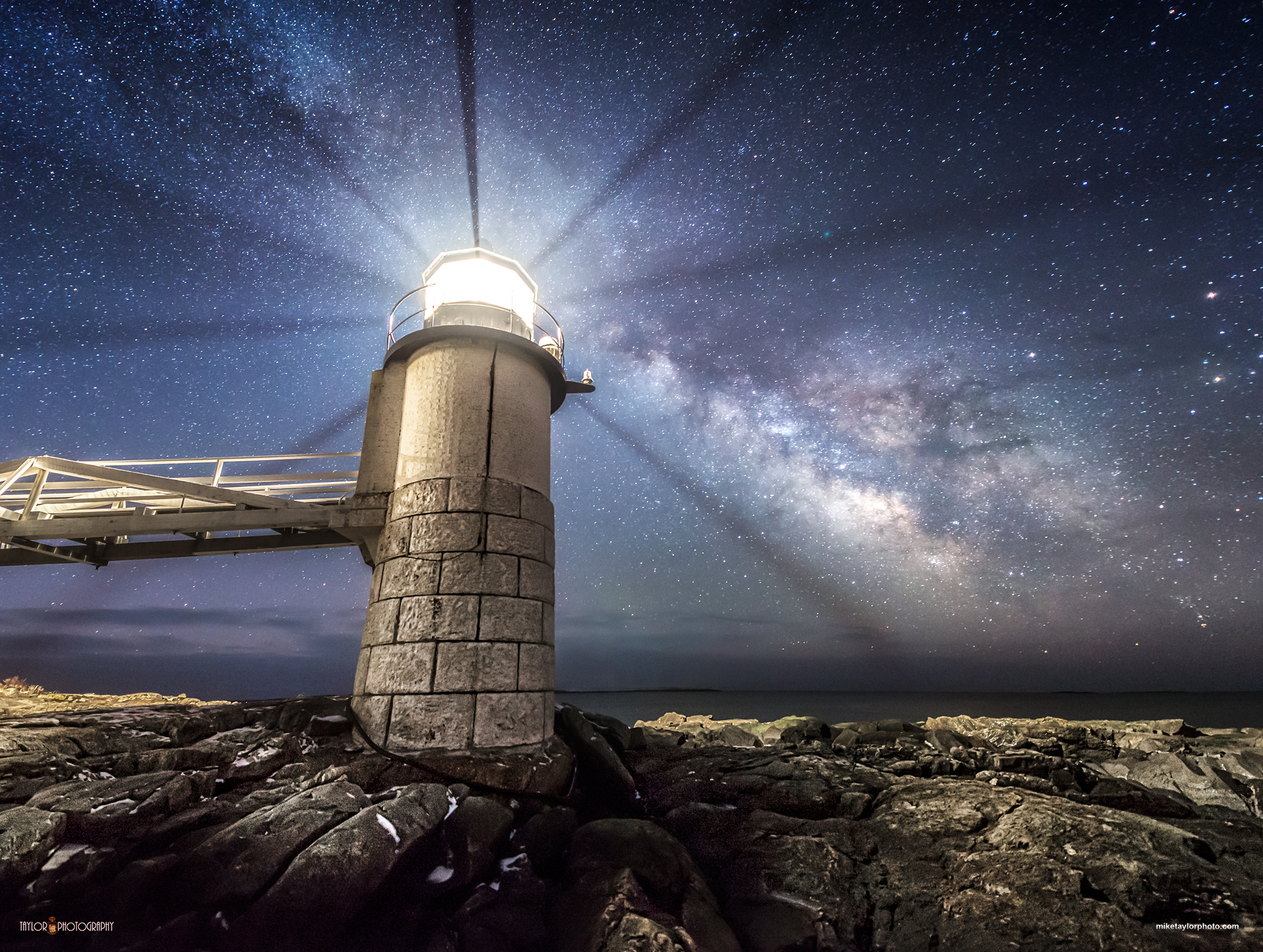 Milky Way Beacon: Maine Lighthouse Shines Toward Milky Way Core