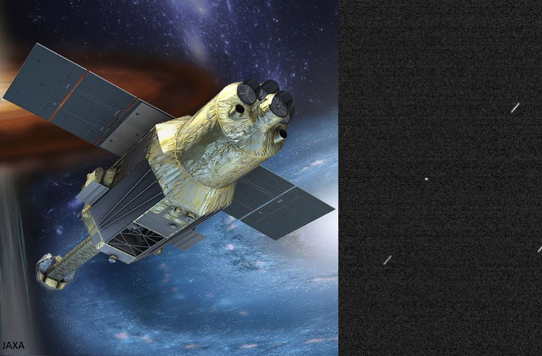 Japanese Hitomi Spacecraft Illustration and Debris