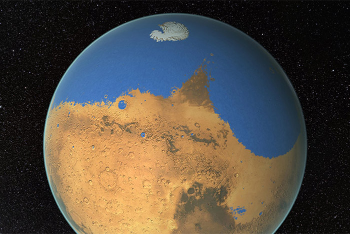 Artist's impression of a primitive ocean on Mars