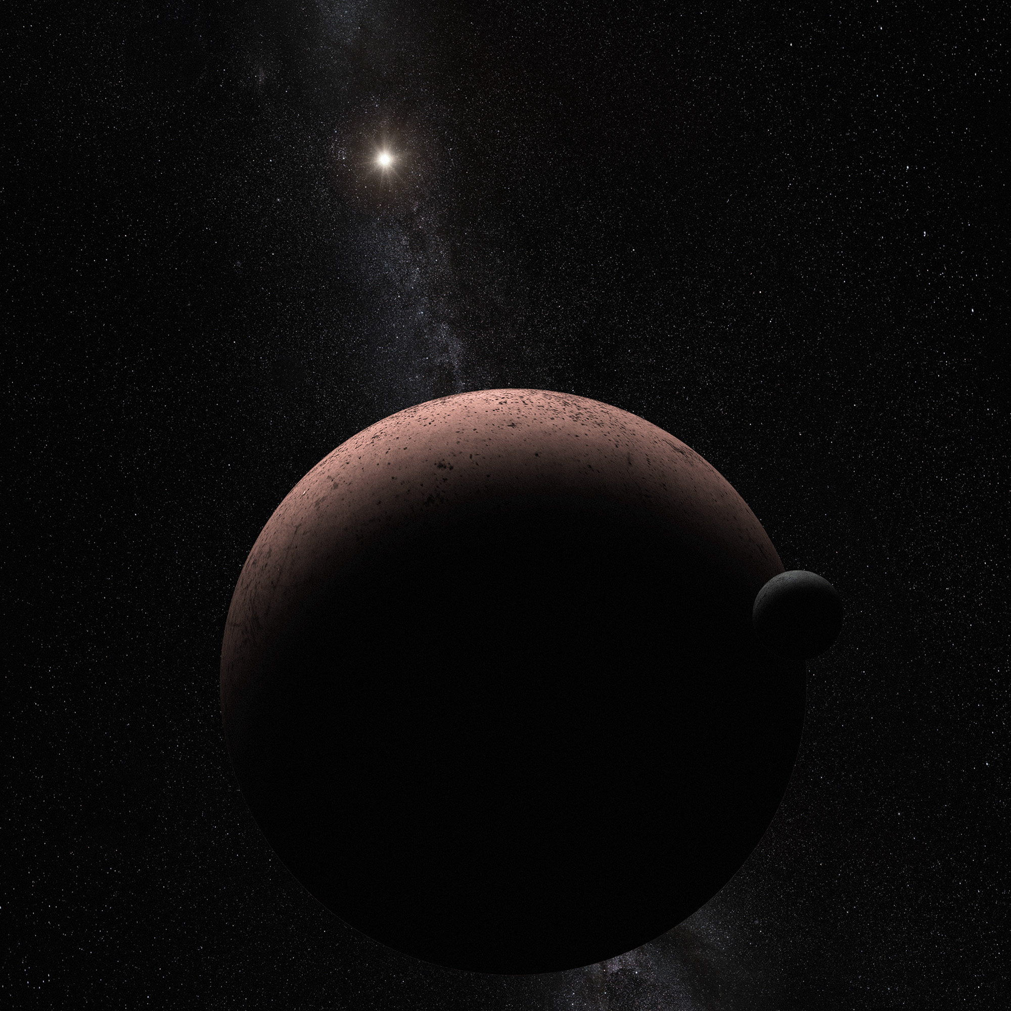 Dwarf Planet Makemake and Moon (Artist's Illustration)