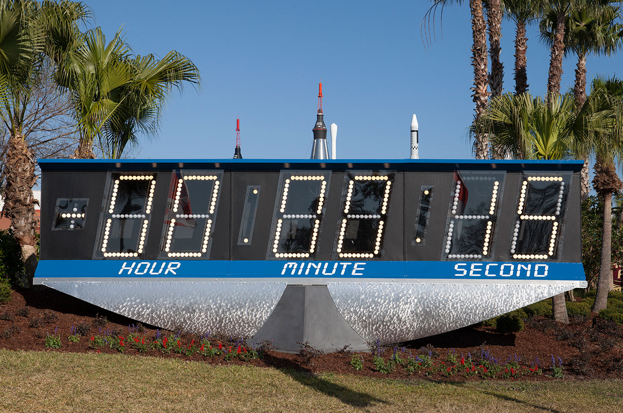 NASA's iconic countdown clock at Kennedy Space Center Visitor Complex