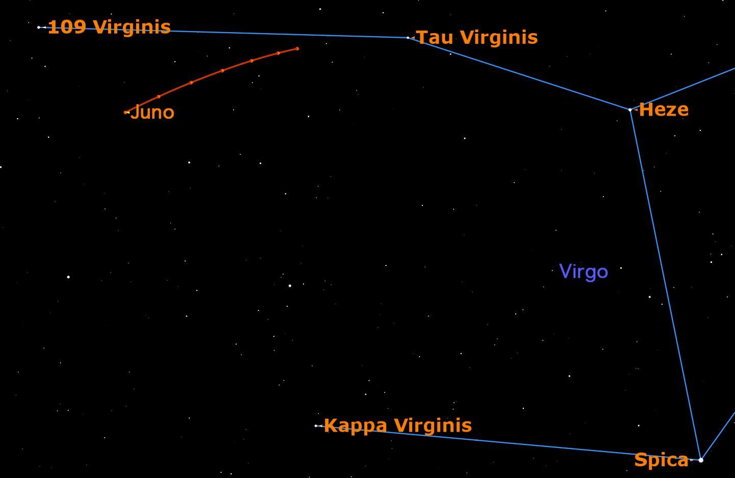 Spot Big Asteroid Juno in the Night Sky