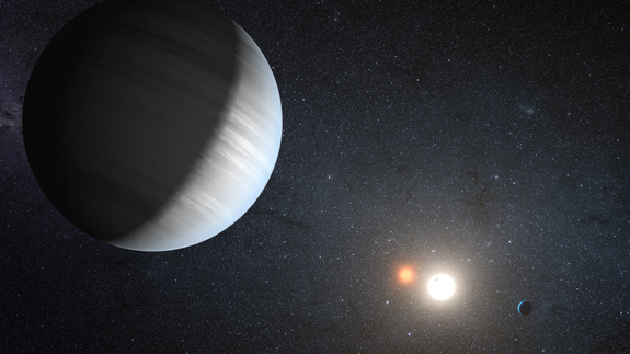 An artist's concept of planet system Kepler-47. As scientists learn more about the cosmos, estimations of the likelihood that life exists beyond Earth are changing.