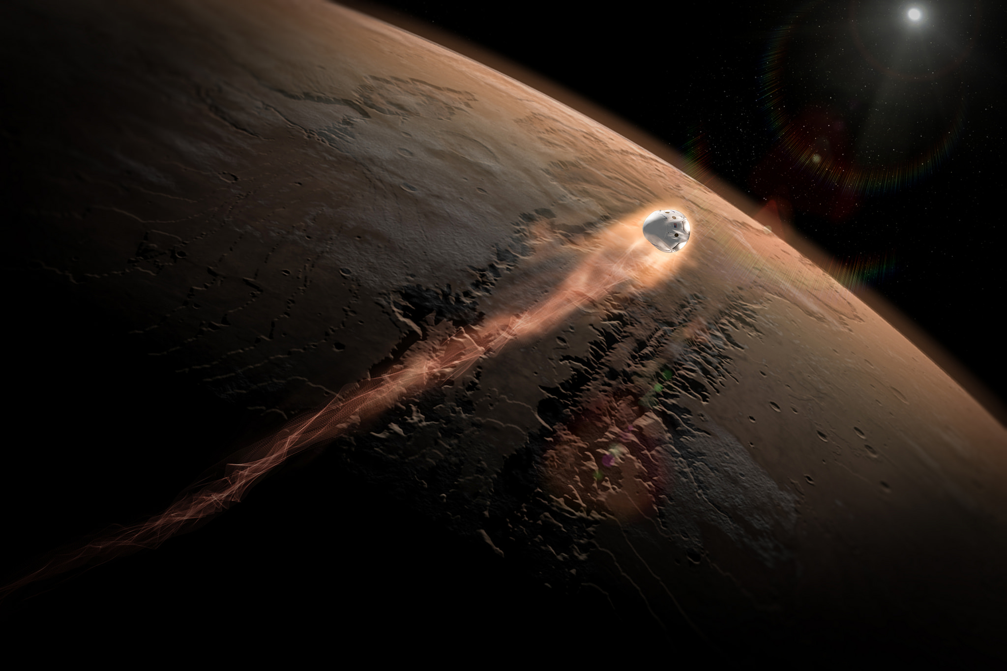 SpaceX's Red Dragon concept would launched a Dragon-based spacecraft to Mars and use the capsule's thrusters to make a landing. This artist's illustration shows how Dragon could enter Mars' atmosphere. SpaceX has successfully returned Dragon capsules to E