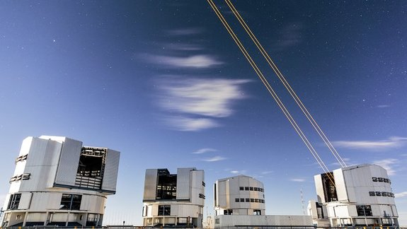 The Four Laser Guide Star Facility for the adaptive optics system on the European Southern Observatory's Very Large Telescope in Chile sees first light in this view taken on April 26, 2016.