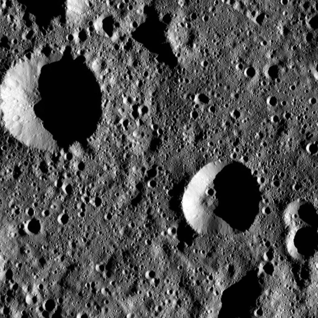 This image from NASA's Dawn spacecraft shows the cratered terrain inside the large Chaminuka Crater on the dwarf planet Ceres. Dawn took this image on Jan. 22, 2016, with NASA unveiling the view on April 22.