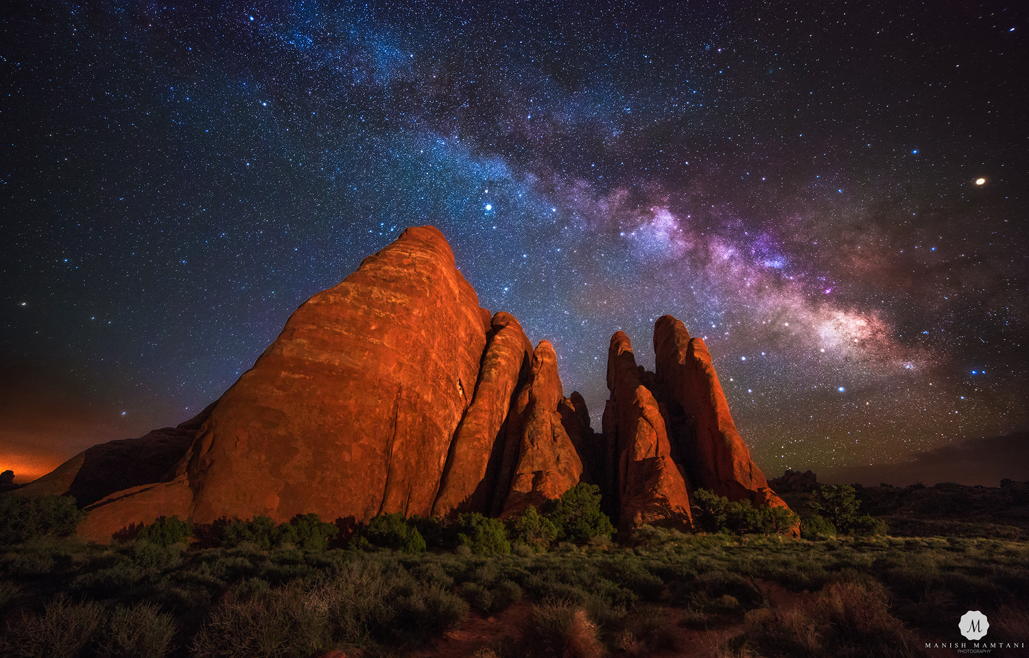 Sand Dunes Mountain Meets Milky Way
