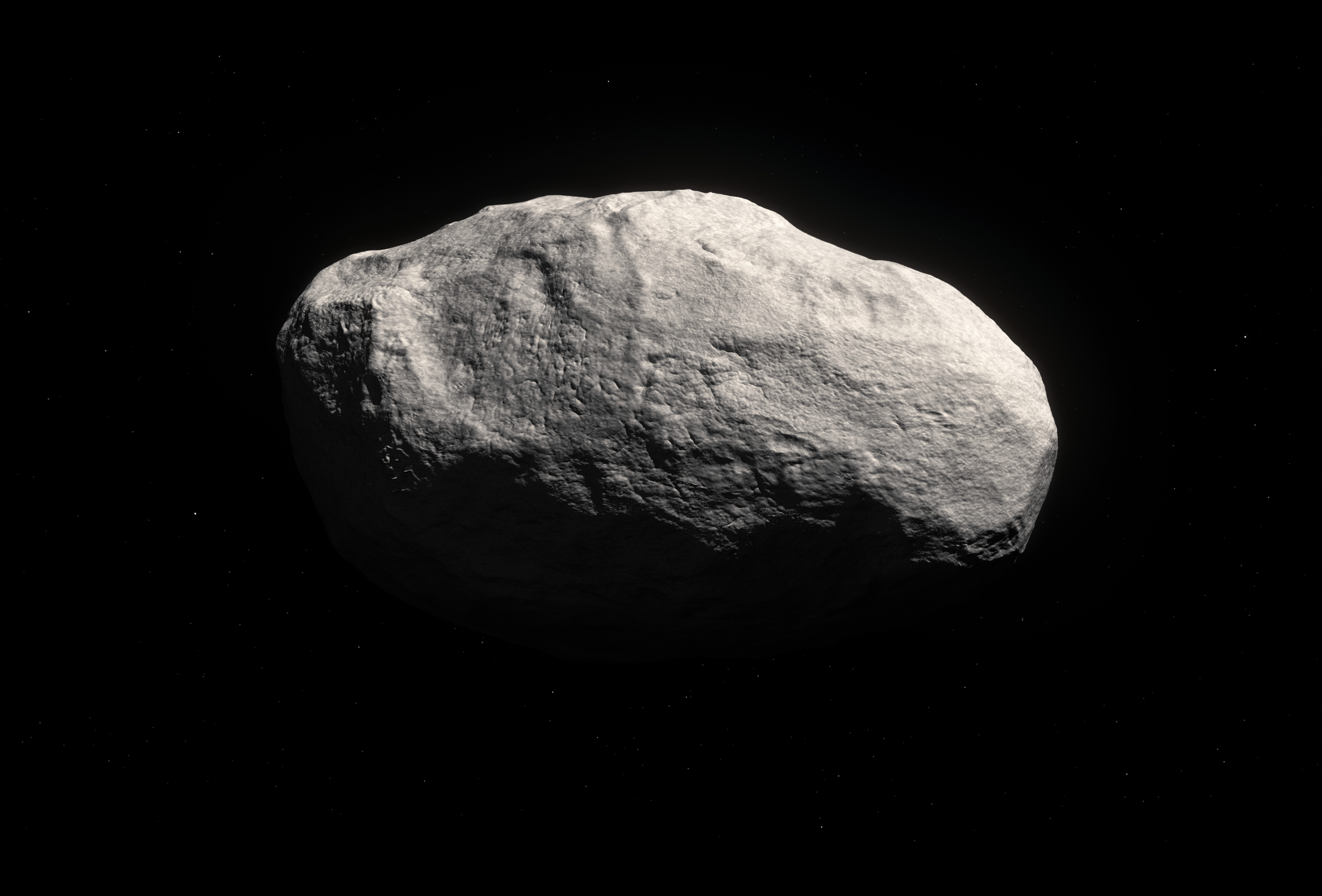 Realistic depiction of a large, tailless comet