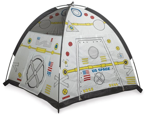 """Spend some time indoors or out in a tent that resembles a spaceport. <a href=""""http://www.amazon.com/dp/B000EUJOIK?tag=space041-20&ascsubtag=[sitespace[catNA[art27797[pidB000EUJOIKNA[bbcmanual"""" rel=""""nofollow"""" target=""""_blank"""">Buy Space Module Tent</a>"""