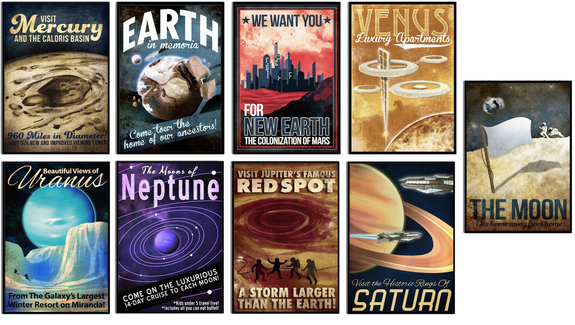 "Redecorate your room in spacey style with this fantastic set of posters. <a href=""http://store.space.com/futuristic-planet-series-poster-set-of-9.html?&ICID=SPACE-kids-gifts-2016"" rel=""nofollow"" target=""_blank"">Buy Futuristic Planet Series Poster Set</a>"