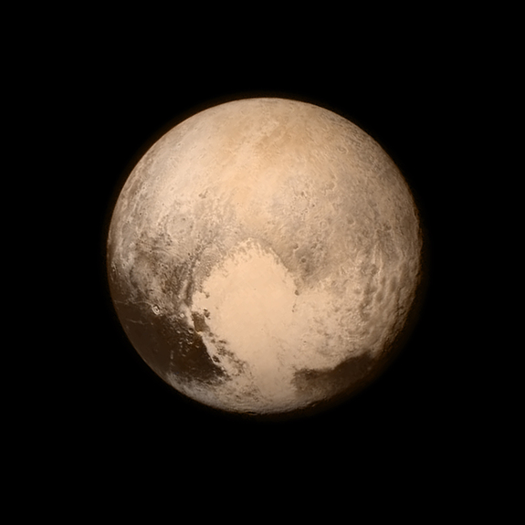 """An image of Pluto, taken by NASA's New Horizons space probe, features the smooth """"heart"""" of the dwarf planet. This region is unofficially known as Sputnik Planum."""