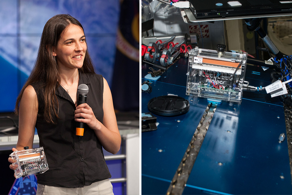 Anna-Sophia Boguraev on left, with the machine she built on right