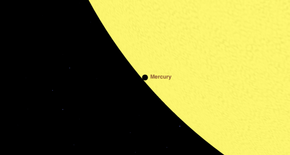 """At 7:09 a.m. EDT on May 9, Mercury will be just inside the limb of the sun; notice the """"black drop"""" effect."""
