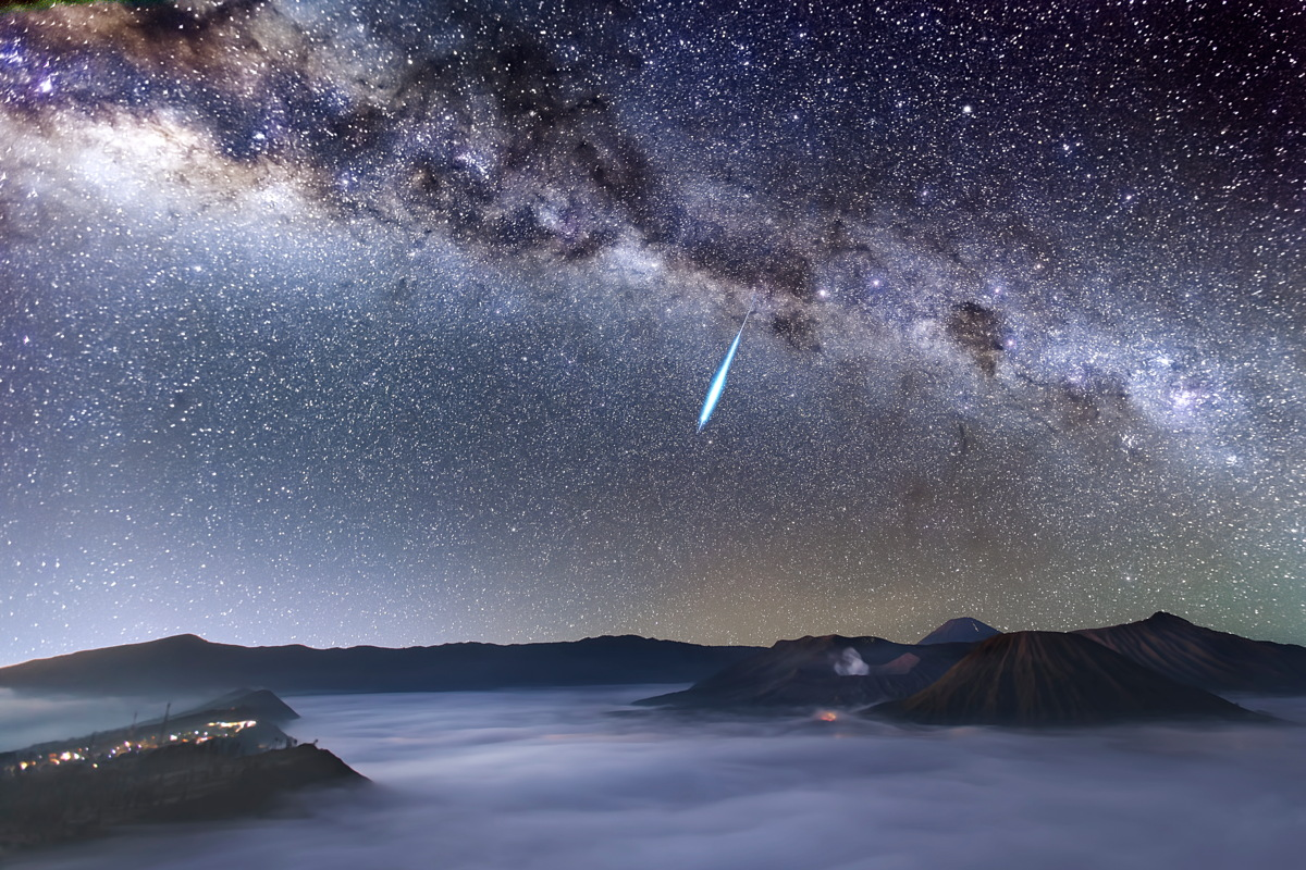 Eta Aquarid Meteor Shower Over Mount Bromo by Justin Ng Image