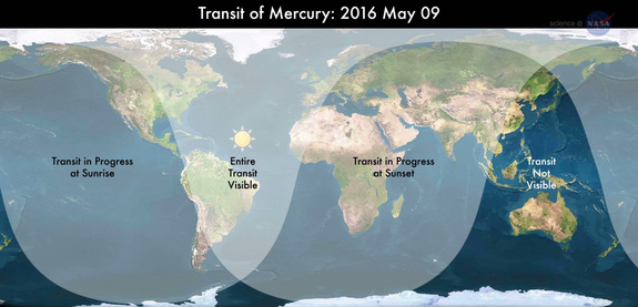 On May 9, 2016, Mercury will cross the face of the sun as seen from most of the Earth. This NASA map shows where the rare Transit of Mercury will be visible from, weather permitting.