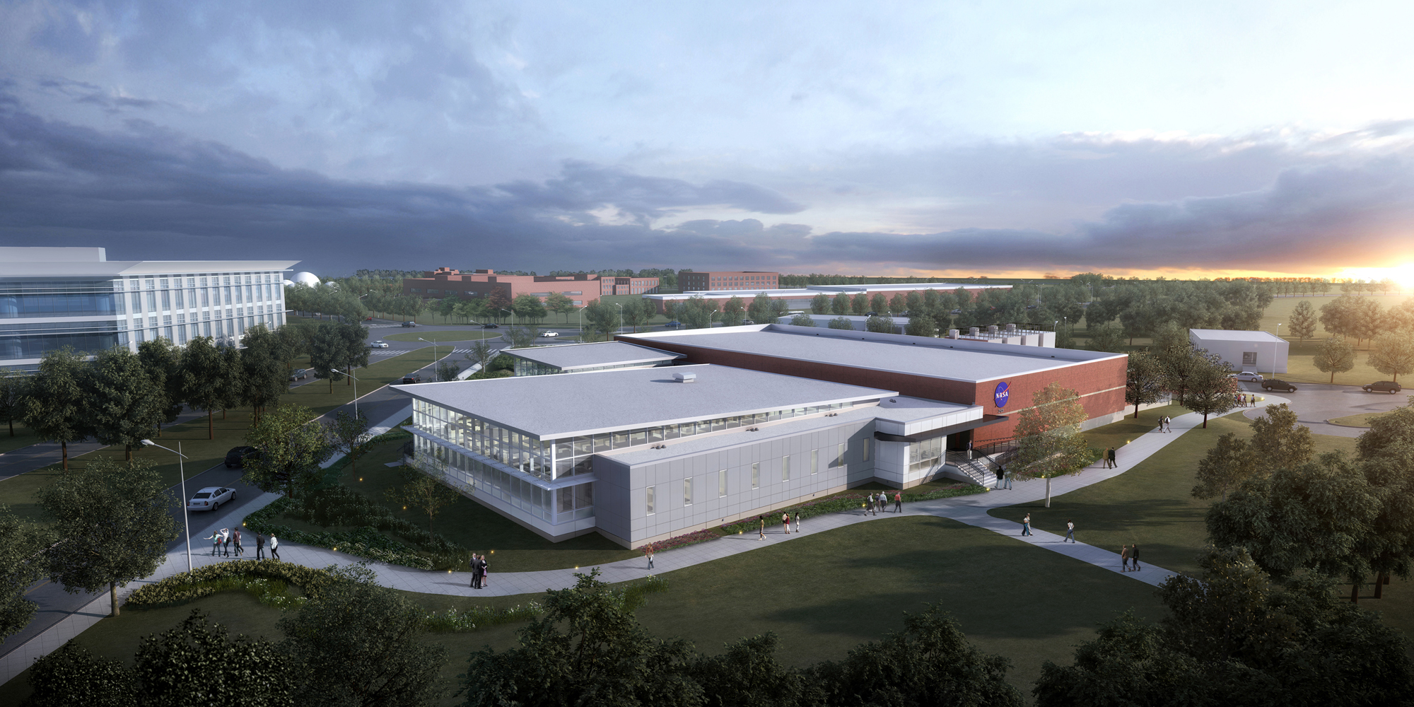 An artist's view of the new Katherine G. Johnson Computational Research Facility at NASA's Langley Research Center in Hampton, Virginia.