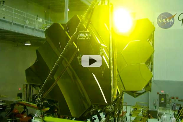 James Webb Space Telescope's Assembled Golden Mirror Is Sight To Behold   Video