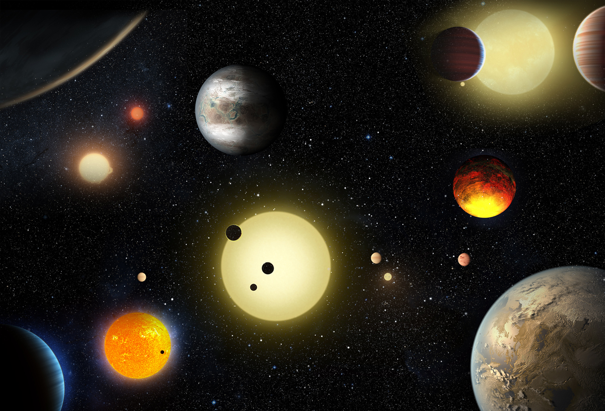 NASA's prolific Kepler Space Telescope has added 1,284 more confirmed exoplanets to its list of discoveries in what scientists called the biggest haul yet. This artist's illustration depicts some of Kepler's notable exoplanet finds over the years.