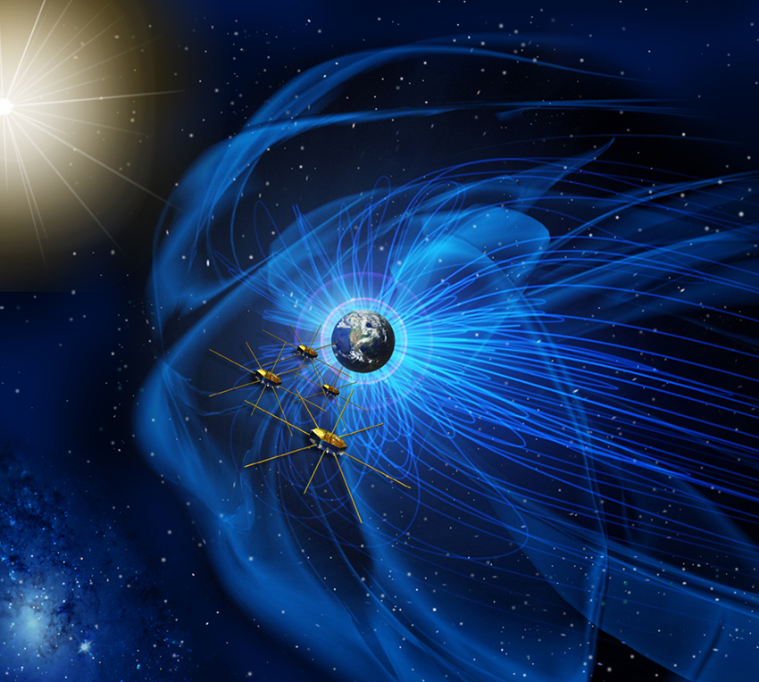 This artist's illustration shows NASA's four identical Magnetospheric Multiscale mission satellites flying in near the sun-facing edge of the Earth's magnetic field. The spacecraft have made the first-ever detection of a magnetic reconnection, an explosiv
