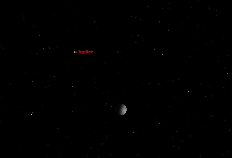 Jupiter up and to the left of the moon, labeled