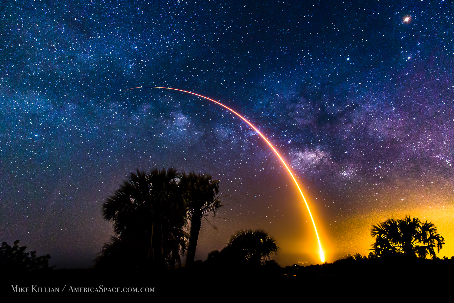 Falcon 9 Rocket Blasting Off to Milky Way