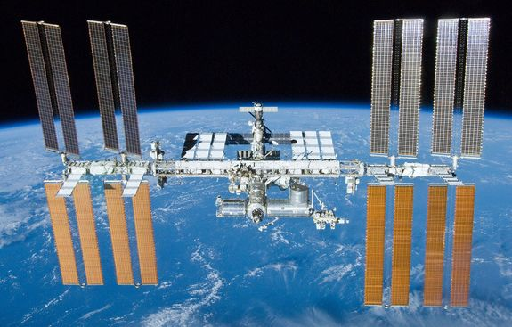 The International Space Station, as seen from the departing space shuttle Atlantis on May 23, 2010.