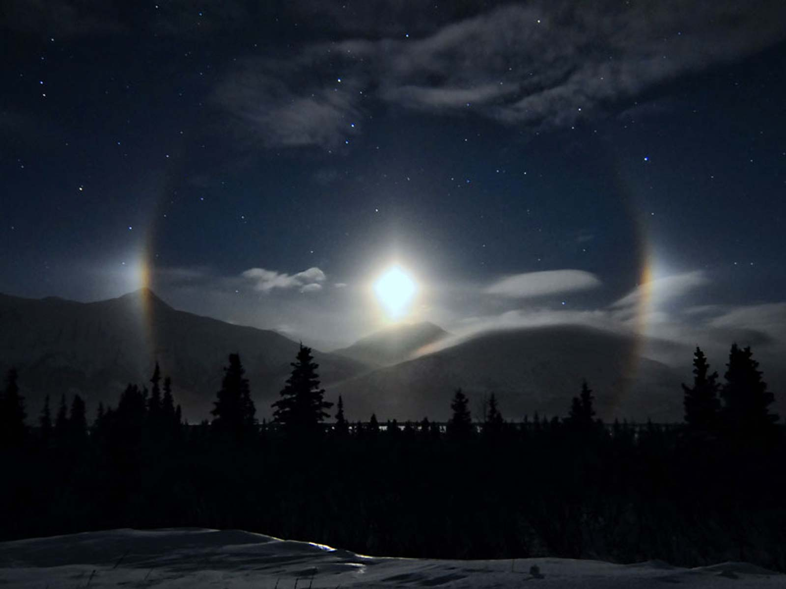 Moondogs Grace the Alaskan Sky   Space Wallpaper