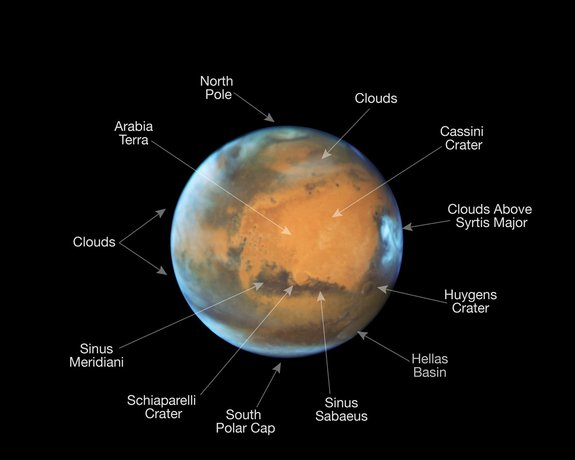 Annotated view of Mars as it was observed shortly before opposition in May 2016 by the NASA/ESA Hubble Space Telescope.