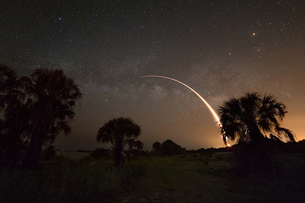 Cosmic Backdrop for Rocket Launch