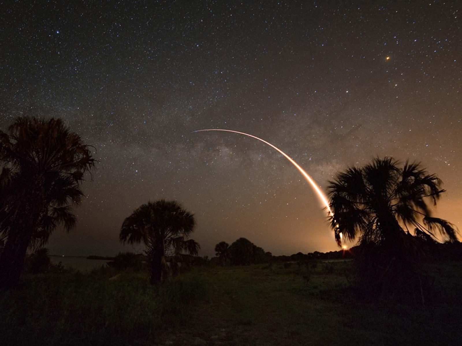 Cosmic Backdrop for Rocket Launch   Space Wallpaper