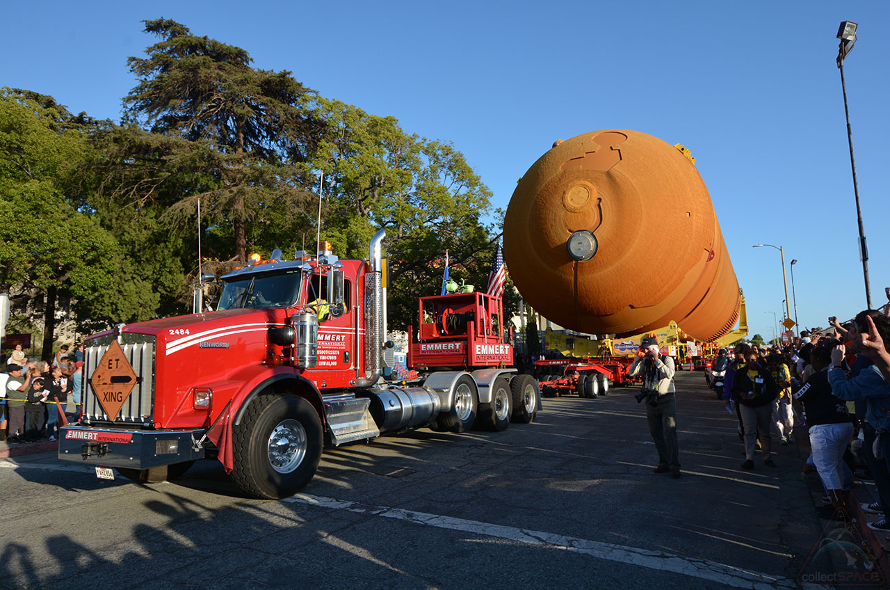 Space Shuttle External Tank Completes Road Trip to CA Science Center