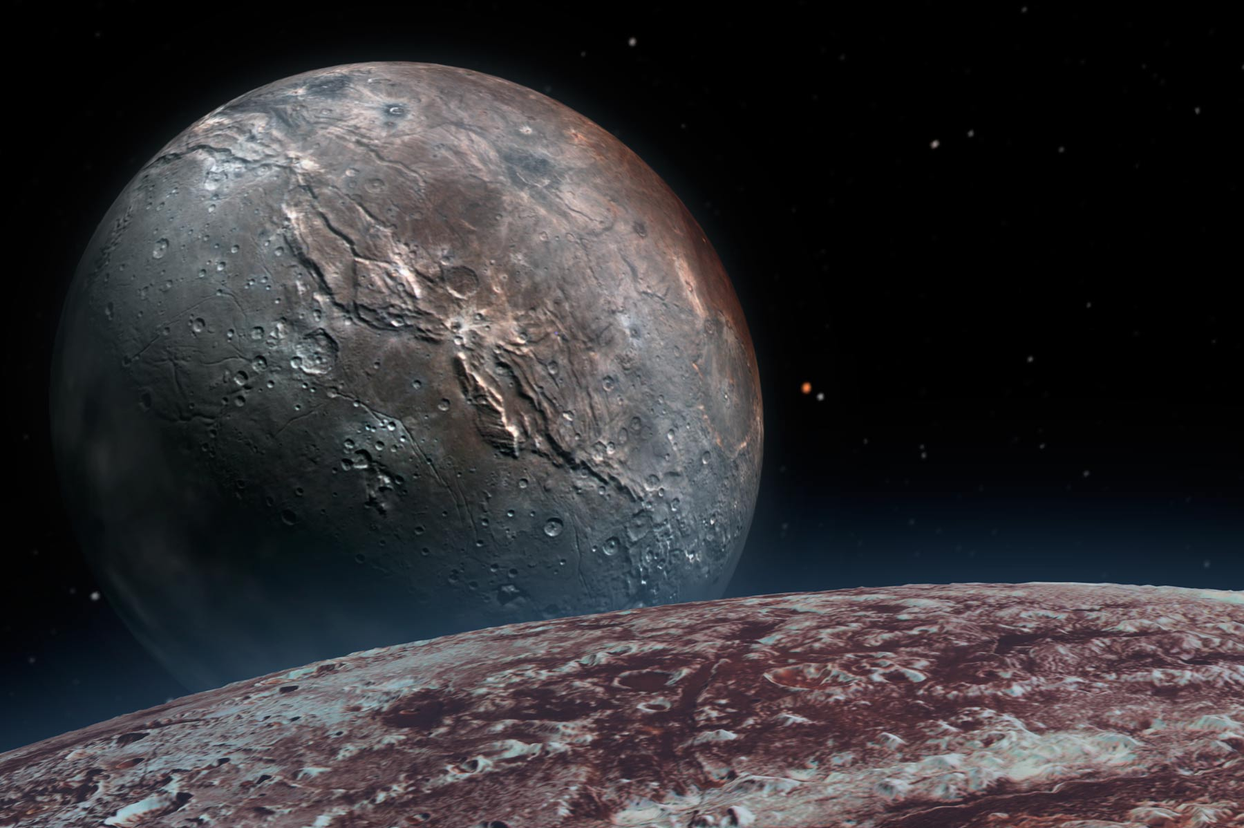 Pluto's pockmarked surface with the broad sphere of moon Charon on the horizon.