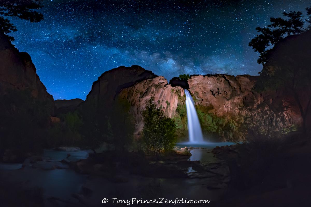 The 'Blue Hour' Milky Way Glitters Over Havasu Falls in Stunning Photo