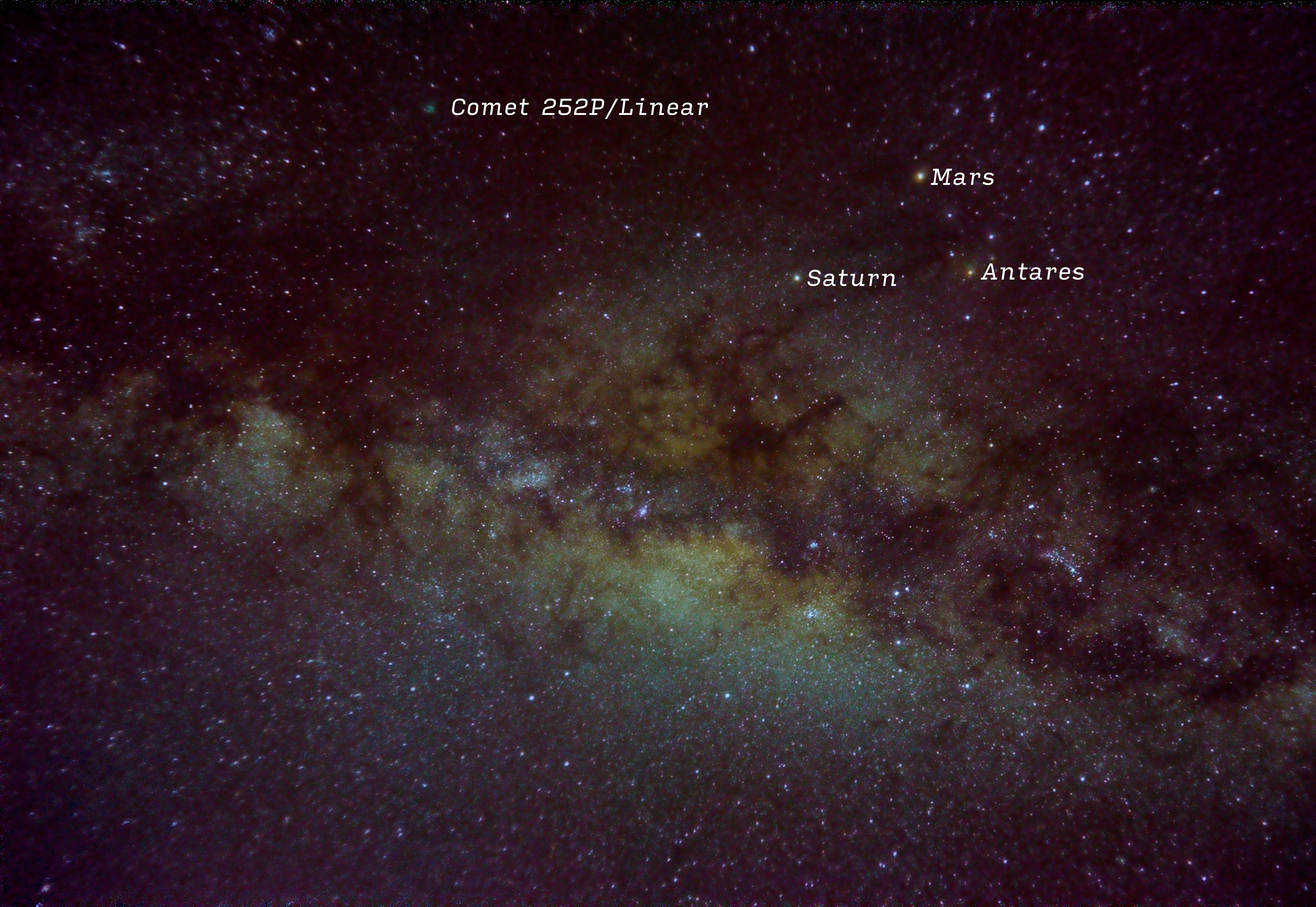 Mars, Saturn, Antares and Comet 252p/Linear by Tom Harper