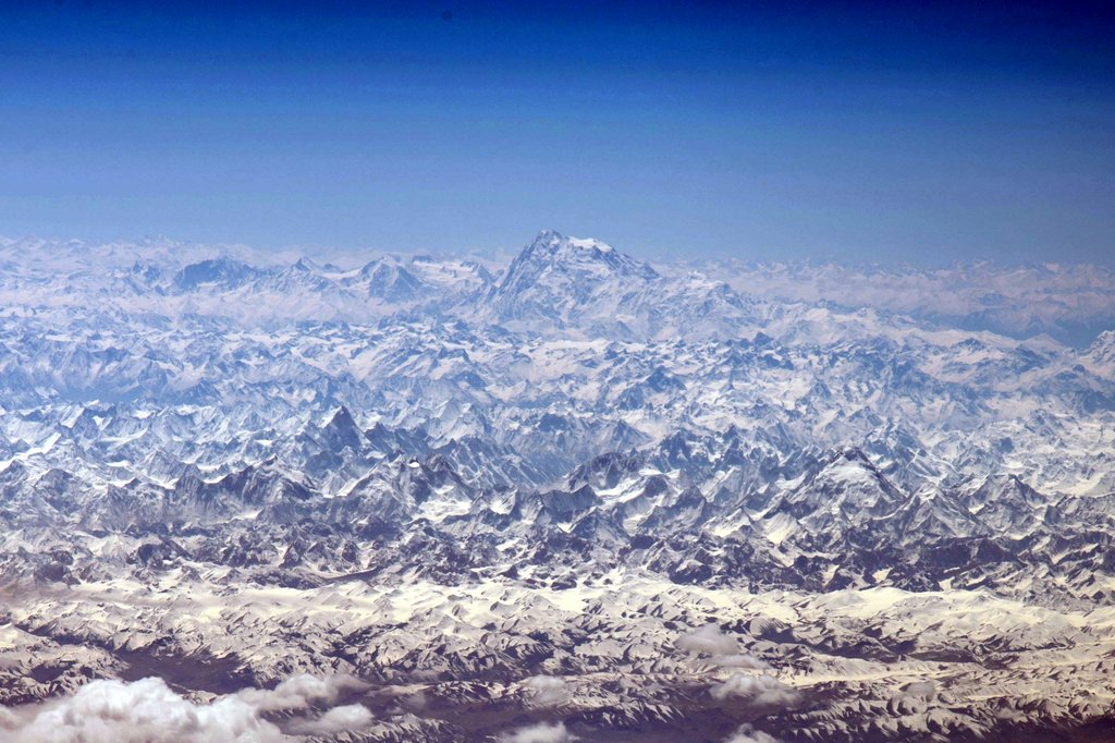The peaks of the Himalayas, the highest mountains on Earth, as seen from the International Space Station by NASA astronaut Jeff Williams.