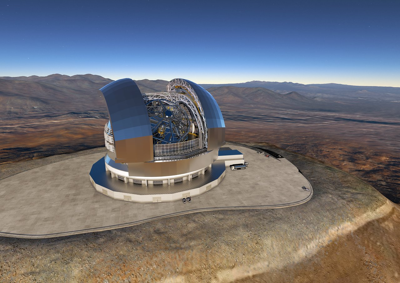 A digital rendering shows what the European Extremely Large Telescope will look like.