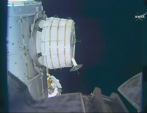 The commercially built Bigelow Expandable Activity Module, an inflatable room on the International Space Station, is seen as inflation work began on May 26, 2016. NASA ultimate called off the inflation attempt when it did not go as planned.