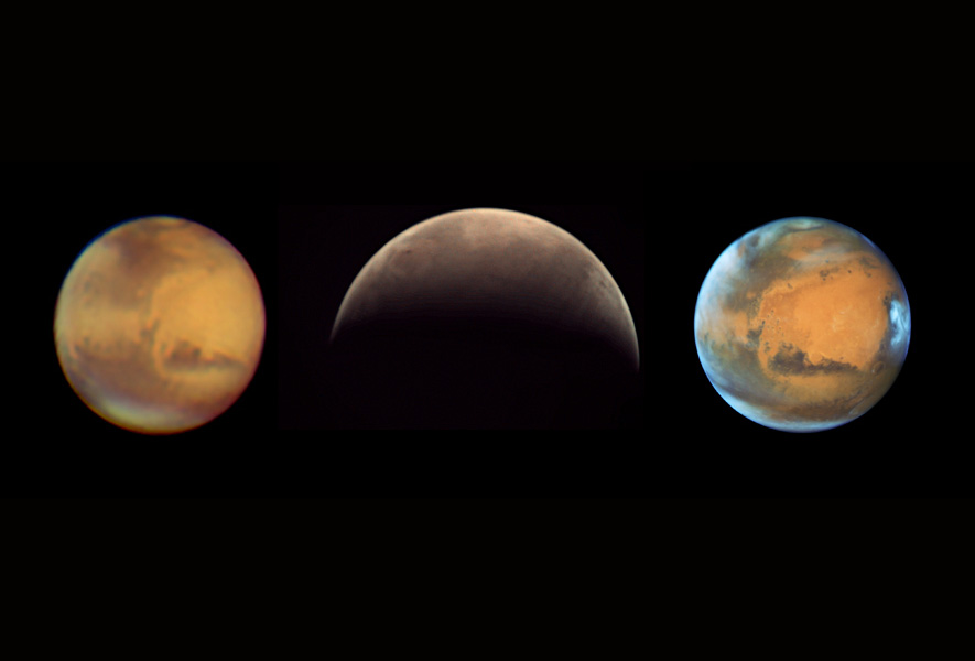 Three views of Mars, one by an amateur astronomer, another from Mars Express at Mars, and a third from the Hubble Space Telescope